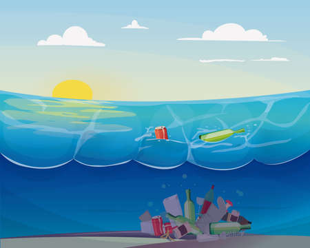 Pollution problem in the ocean: Stock Illustratie