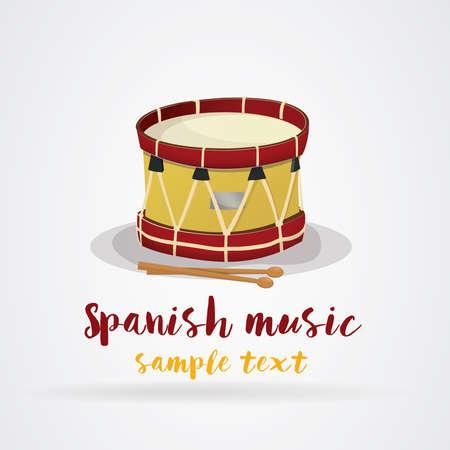 スペイン語パーティー音楽: スペインの旗の色でドラムします。ベクター画像。