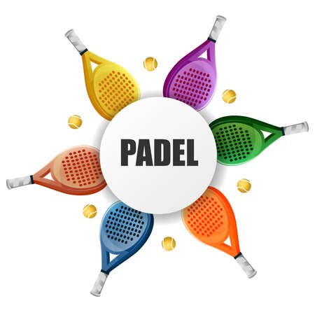 Template paddle padel colorful banner: paddle rackets forming a circle. Vector image Stock Illustratie