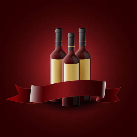 Red wine bottles with empty label: Three bottles of red wine with bow for text. Dark red background. Vector image