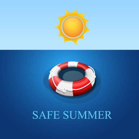 Bem-vindo verão seguro: Flotador de resgatar flotando na água. Cielo y sol. Vetor Imagen. Ilustración de vector