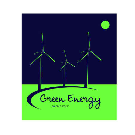 Logo green energy: Bicromatic image. Energetic fans over blue sky and green earth. Silhouettes. Vector image