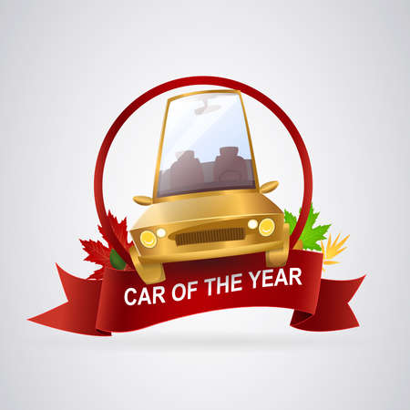 Best car of the year: Quality seal for the best car of the year. Golden car on loop and red circle with leaves background. Vector image.