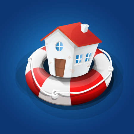 Protection of the home. Secure home: House on rescue float. Blue background. Vector image. Ilustrace