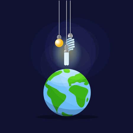 Low consumption lighting: Light bulbs illuminating the earth. Vector image