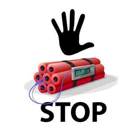 Stop terrorism. Stop bomb: Dynamite with black hand and the word STOP. Vector image