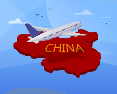 Air travel to China: Airplane flying the map of china. 3d effect. Vector image