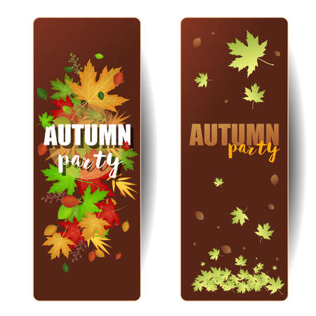 Autumn party invitation card: Two invitation cards with colored leaves. Vector image