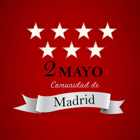 Spanish text May 2, Community of Madrid: White stars on a red background, simulating the flag of the community of Madrid. White tie. Vector image. Ilustrace
