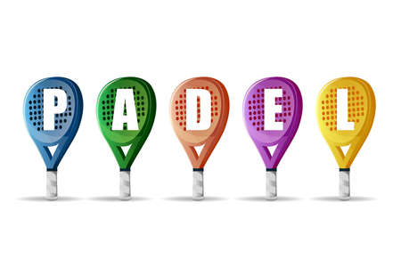 Banner padel paddle sport championship: Rackets of different colors with the text PADEL. Vector image Ilustrace