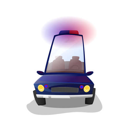 Police car: Cartoon style car on white background. Vector Image