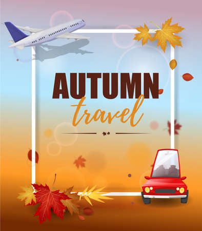 Autumn travel: Airplane and car enjoying the trip around the world in the fall season. Vector image
