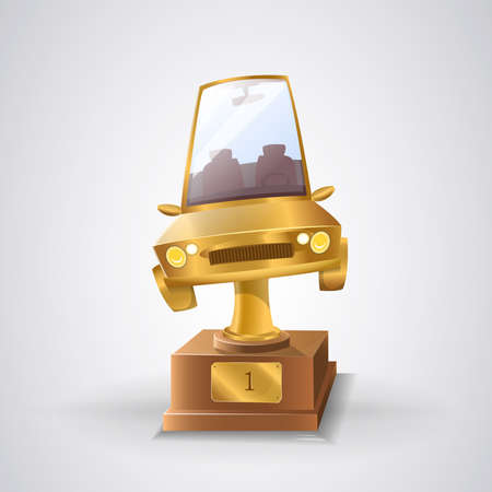 Award winner rally car:  Trophy for the first classified of the rally car. Golden car Vector image Ilustrace