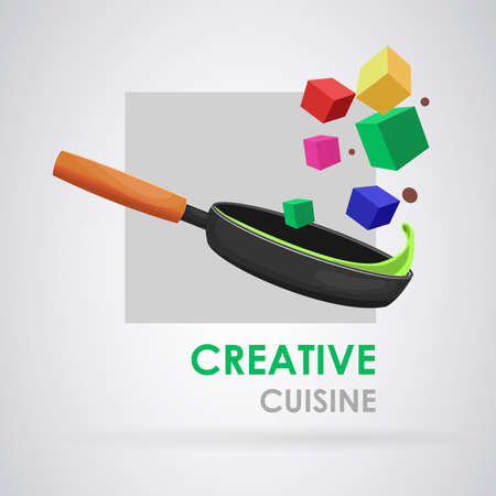 Creative food: Frying pan cooking creative and modern foods. Vector image Ilustrace