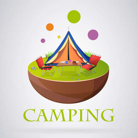 Logo modern camping colorfull: Tent with other camping elements. Vector image