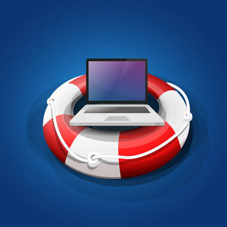 Protect your computer equipment: laptop on a rescue float, in the water. Vector image
