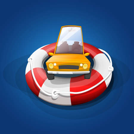 Safety for your car: Car on rescue float, in the sea. Vector image