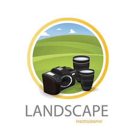 Landscape photography logo: Photographic equipment with landscape background. Vector image