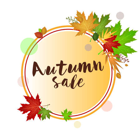 Autumn sale card with leaves. Red orange and green: Circle with place to insert custom text. vector image