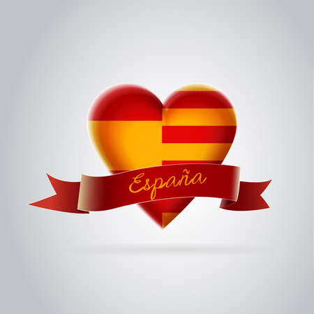 Spain and Catalonia together forever: Heart with the flag of Spain and the flag of Catalonia together. Vector image