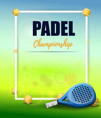 Padel championship poster: Racket and paddle balls on colorful background. Vector image Illustration
