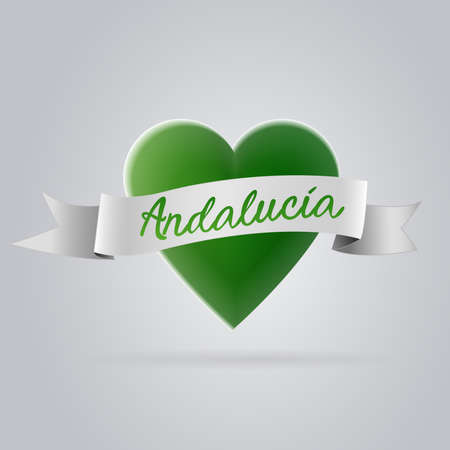 アンダルシアの心臓部。白と緑:スペインのこの地域の旗を表す緑の心に、スペイン語のテキスト「アンダルシア」と白い弓。ベクトル画像