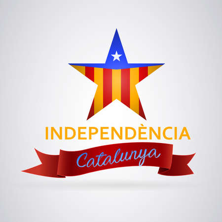 Independence Catalonia star: Star with independent Catalonia flag. Text in Catalan Independence. Vector image
