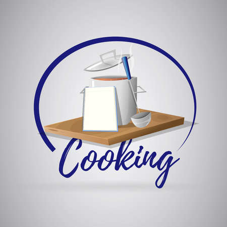 Logo cooking recipe: Pot and notebook on wood. Vector image Illustration