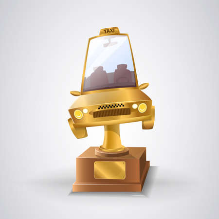 Best taxi service of the year: Trophy for the best taxi service. Gold taxi Vector image Ilustrace