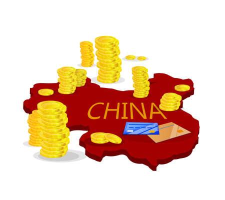 Chinese economy: Map of China with money