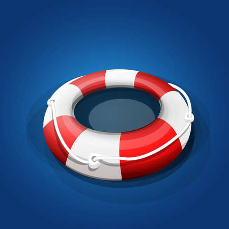 Red and white rescue float on blue background Ilustrace