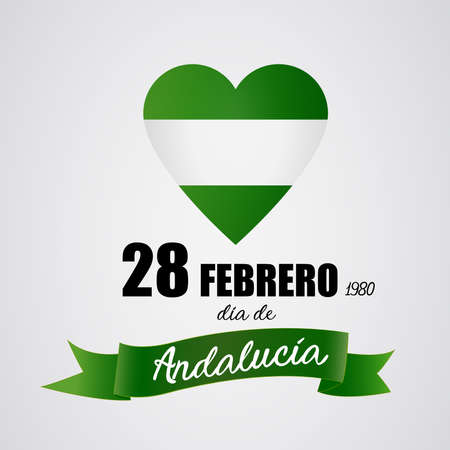 28 February Andalusia day. Independence: White and green heart representing the flag of Andalusia, Spain region. Day of autonomy. Vector image. Ilustração