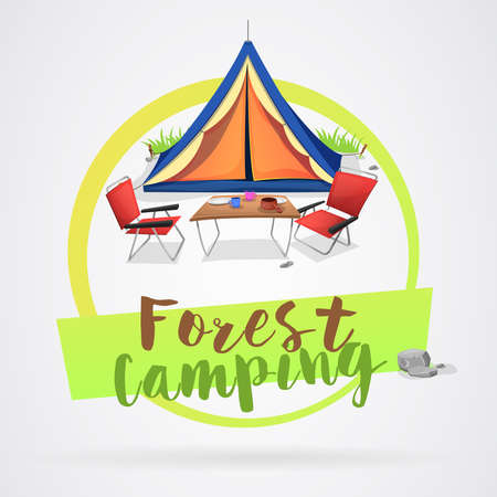 Day of camping in the forest. Tent and other camping utensils on green circumference. Vector image