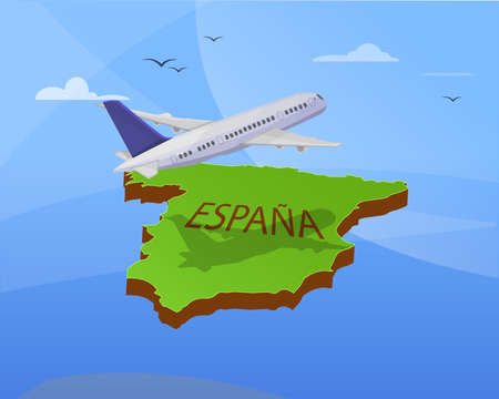 Air travel to Spain: Airplane flying the map of Spain. 3d effect. Vector image