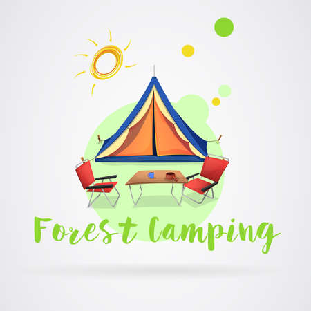 Camping in the forest in summer: Camping equipment and summer sun. Vector image Ilustrace