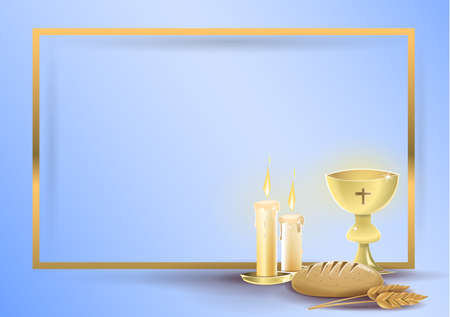 First communion religious invitation card: Religious elements of communion and baptism, on a blue background with a golden border. Vector image