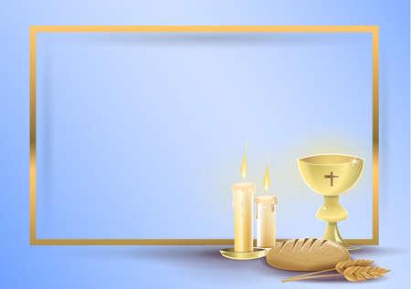 Carta di invito religioso di prima comunione: elementi religiosi di comunione e battesimo, su sfondo blu con un bordo dorato. Immagine vettoriale