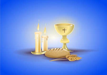 Objetos religiosos de mi primera comunión: cáliz, velas y otros objetos relacionados con la religión y el evento de comunión. Fondo de color azul. Imagen vectorial