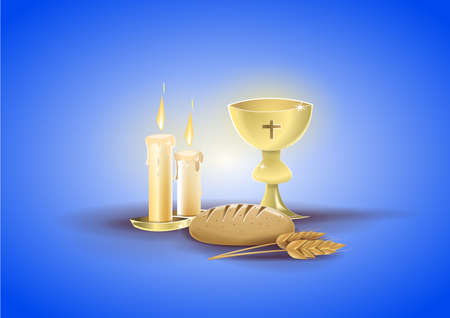 Religious objects of my first communion: Chalice, candles and other objects related to religion and the communion event. Background of blue color. Vector image Vettoriali