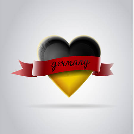 Patriotic heart with the flag of germany: Heart with black and yellow colors and red bow. Vector image