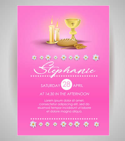 Pink religious invitation card: Invitation for first communion. Religious elements on pink background and flowers. Vector image. Illustration