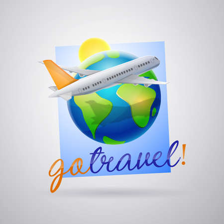 Travel agency logo. Air travel: Airplane flying over the planet earth and sun. Details of the plane in orange.Vector image Ilustrace