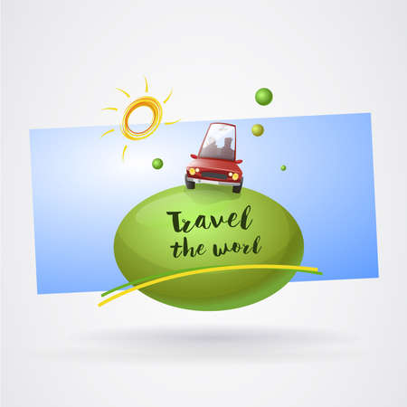 Logo holidays around the world with car: Car on planet with sun and blue background. Vector image