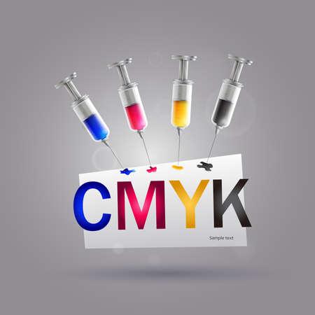Syringe cmyk printer: Four syringes with cmyk colors for printer ink.