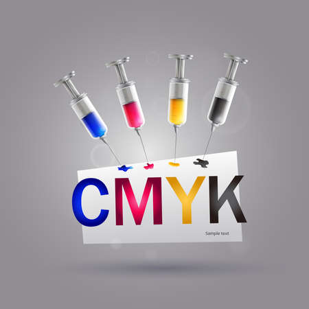 Syringe cmyk printer: Four syringes with cmyk colors for printer ink.
