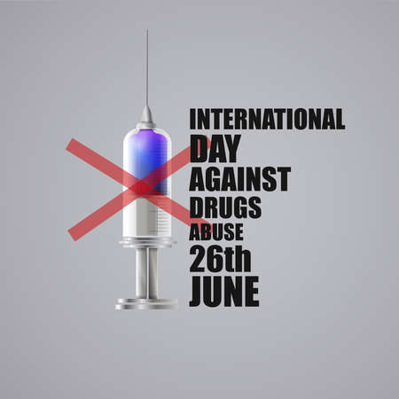 International day against drugs: Syringe and text.