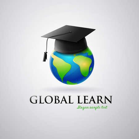 Logo International education: graduation cap on planet earth. Ilustrace