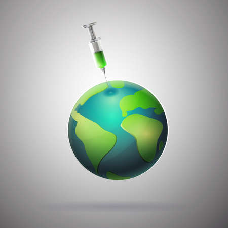 Medicine to save the world: Planet earth with syringe. Ilustrace