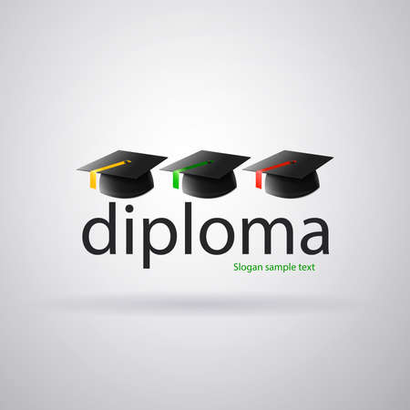 Logo diploma teaching academy: Three mortarboards of students with ties of different colors. Vector image Ilustrace