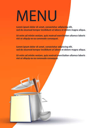 Menu in traditional restaurant. Pot with typical food on orange background vector image. Ilustrace